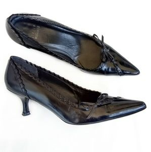 "Stuart Weitzman Black Leather Pointy Toe 2"" Heel"